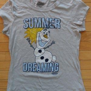Disney Frozen XL Olaf Juniors Tee Shirt Top Gray